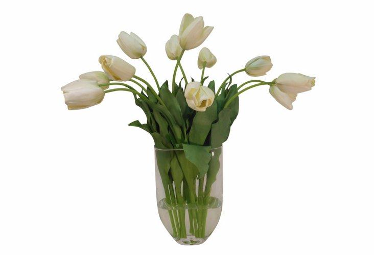 Long Stem French Tulips in Vase, White