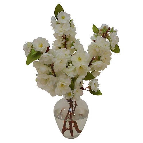 "13"" Cherry Blossoms in Bouquet, White"