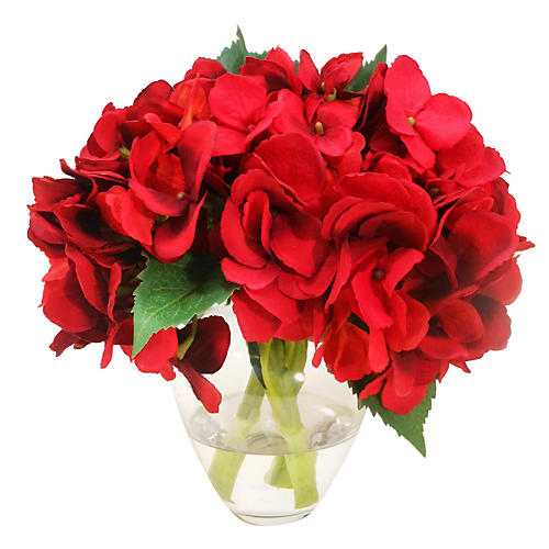 "9"" Hydrangea in Bouquet Vase, Red"