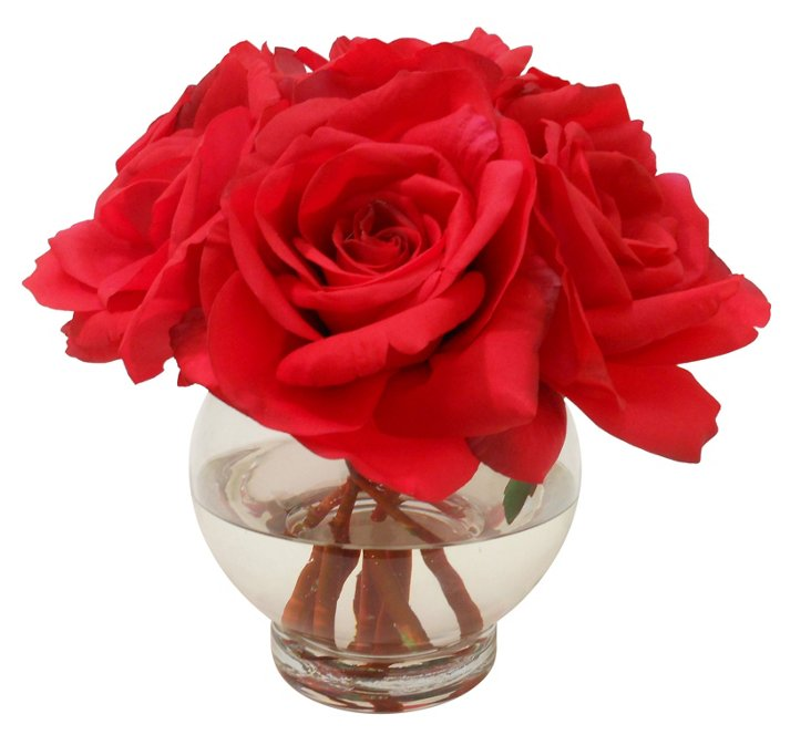 """9"""" Open Roses in Rose Bowl, Red"""