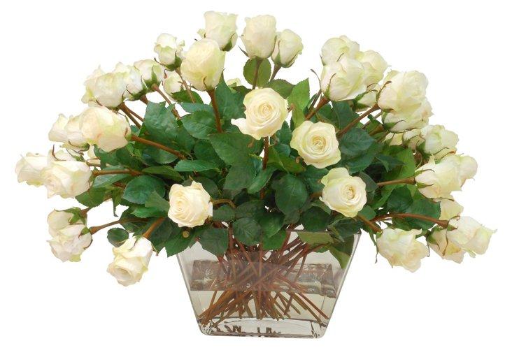 """27"""" Rose Spray in Square Vase, Faux"""