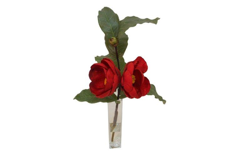 Camellia in Bud Vase, Red