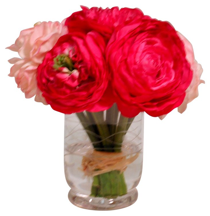"7"" Ranunculus in Etched Vase, Faux"
