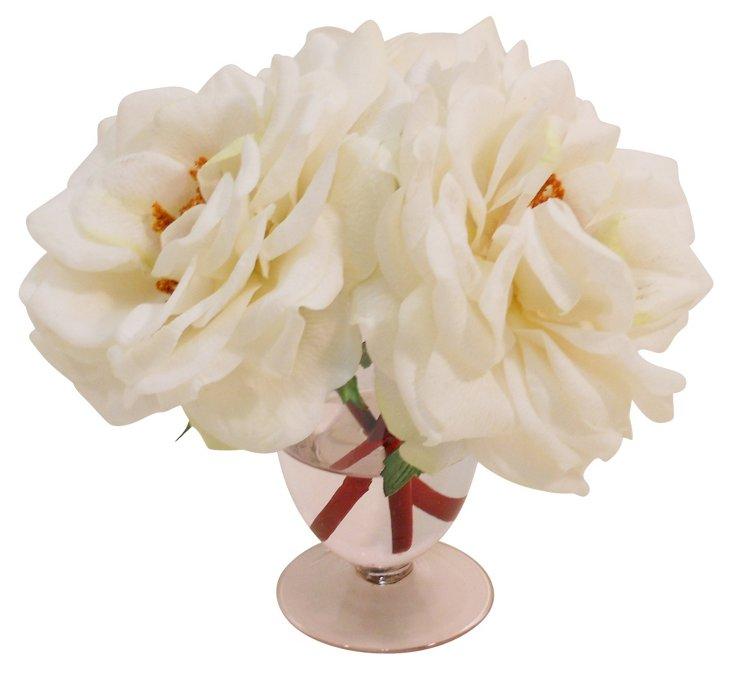 Bloomed Rose in Pink Urn, White