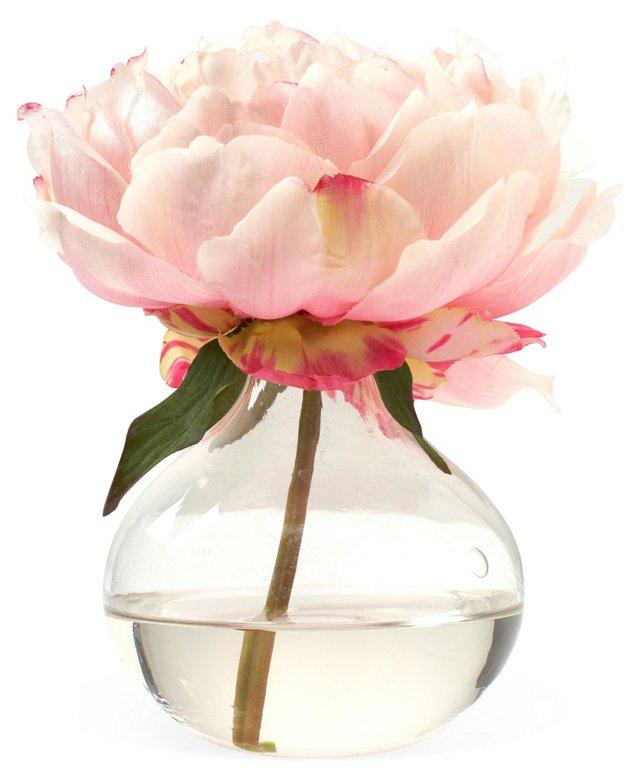 "7"" Peony in Bubble Vase, Faux"