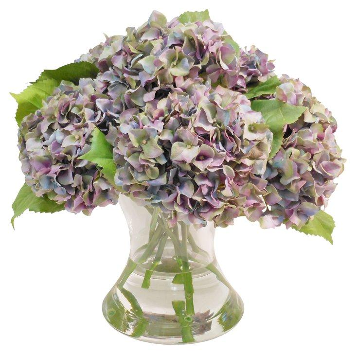 """15"""" Hydrangeas in Flared Vase, Faux"""