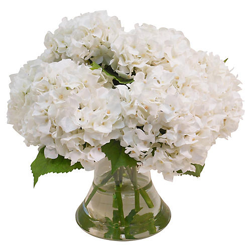 "17"" Hydrangea in Flared Vase, Faux"