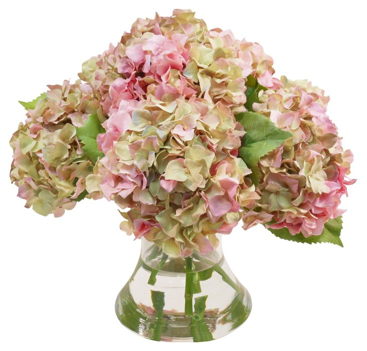 """17"""" Hydrangeas in Vase, Faux"""