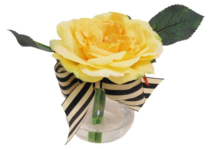 """7"""" Rose in Bubble Vase, Yellow"""
