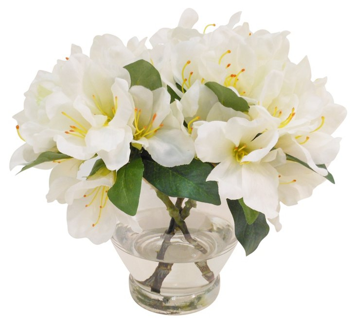 """10"""" Rhododendron in Rose Bowl, Faux"""