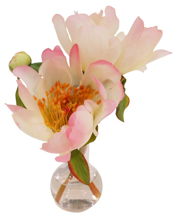 Peony in Sweet Pea Vase, Cream