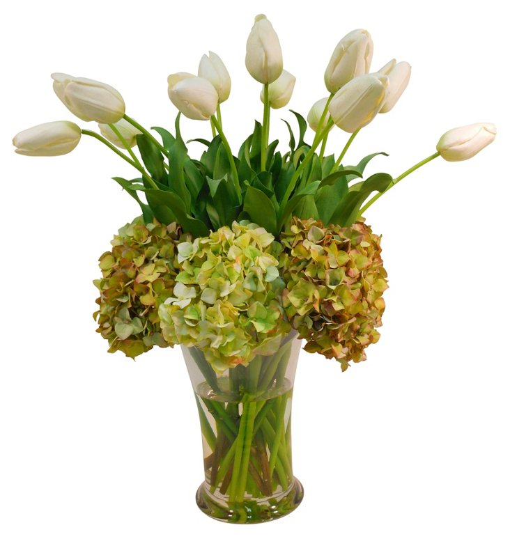 Hydrangea & Tulips in Flared Vase, Green