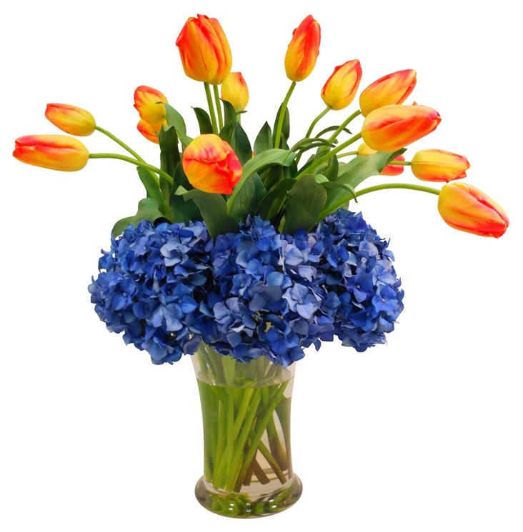 Hydrangeas & Tulips in Flared Vase, Blue
