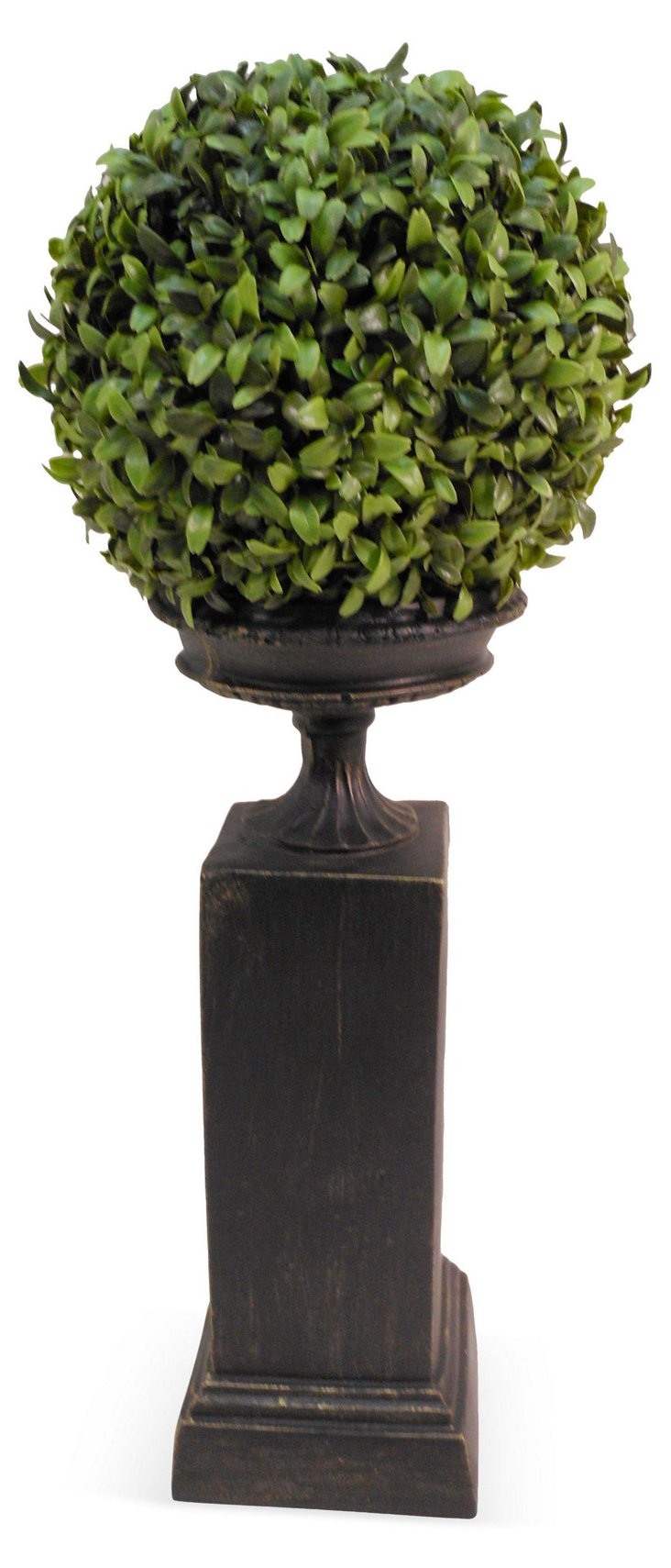 "24"" Boxwood Ball on Pedestal, Faux"