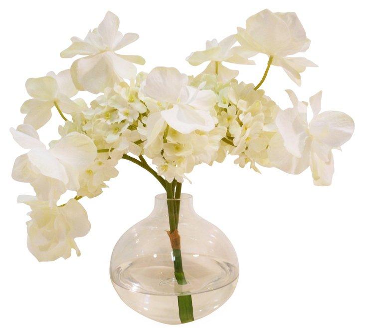 """9"""" Butterfly Hydrangea in Vase, Faux"""