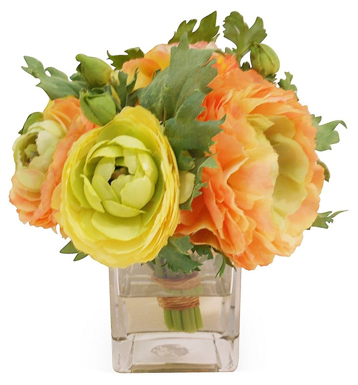 "7"" Ranunculus Bouquet in Vase, Faux"