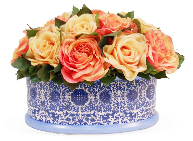 """16"""" Roses in Planter, Faux"""