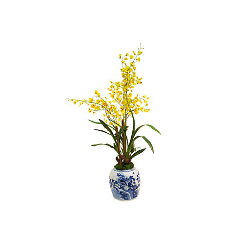 "38"" Oncidium in Vase, Yellow"