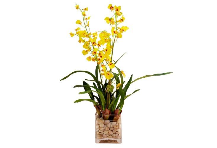 """26"""" Oncidium in Vase, Faux"""