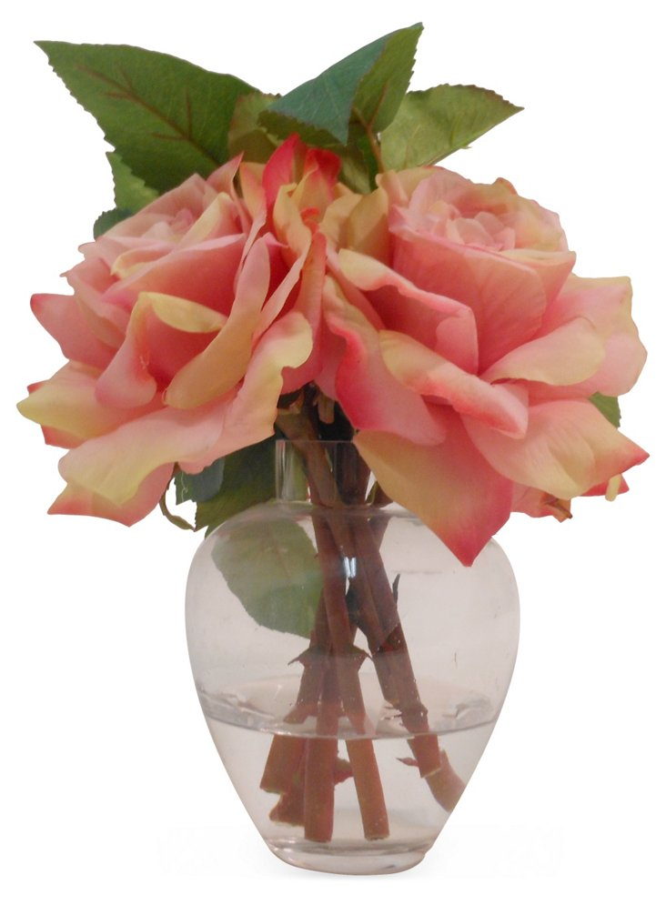 "9"" Roses in Garden Bouquet, Faux"