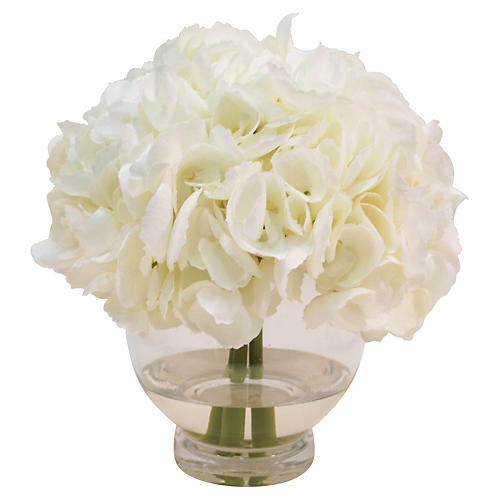 "10"" Hydrangea in Rose Bowl, White"