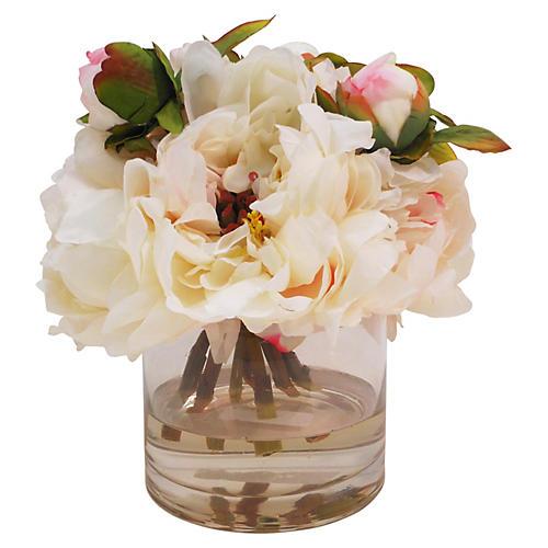 "10"" Peonies in Cylinder Vase, Faux"