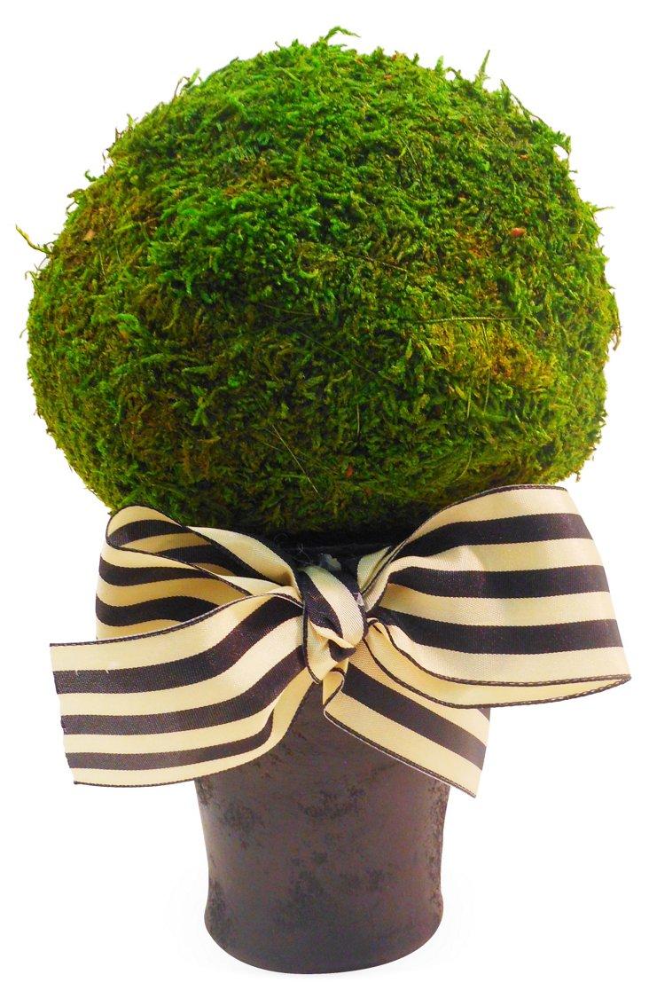 "10"" Moss Ball in Pot w/ Bow, Faux"