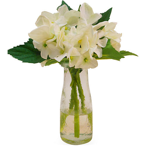 "11"" Hydrangea in Milk Bottle, Faux"