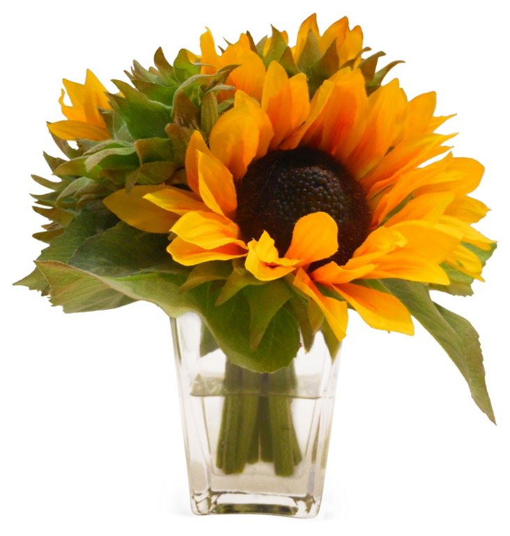 "9"" Sunflower in Flared Vase, Faux"