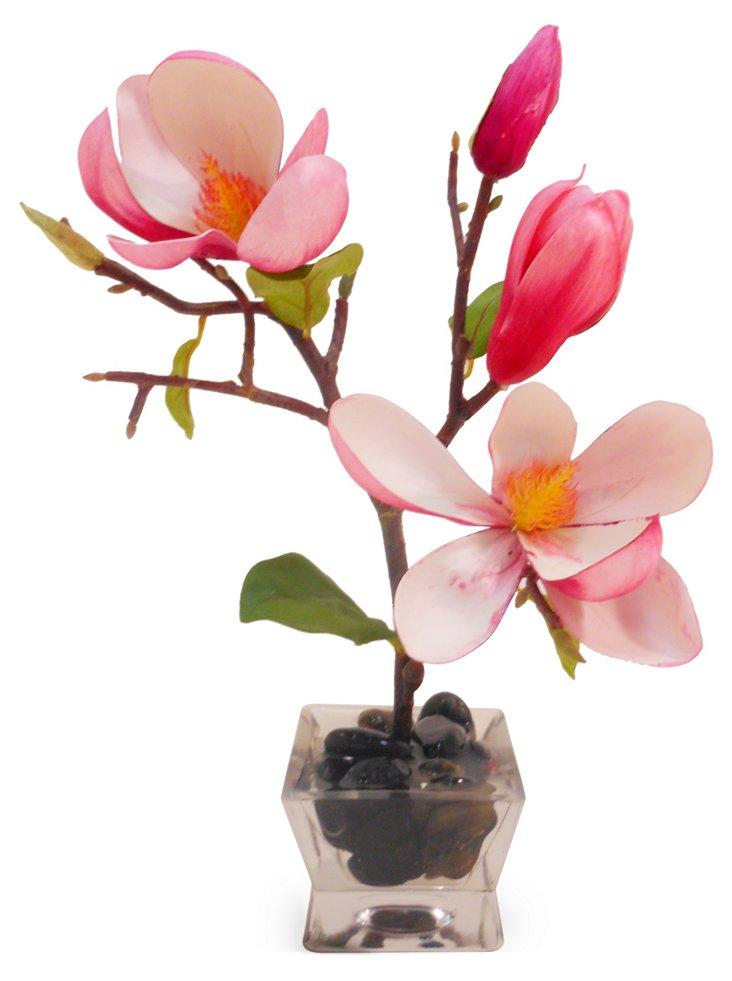 """12"""" Magnolia in Square Vase, Faux"""