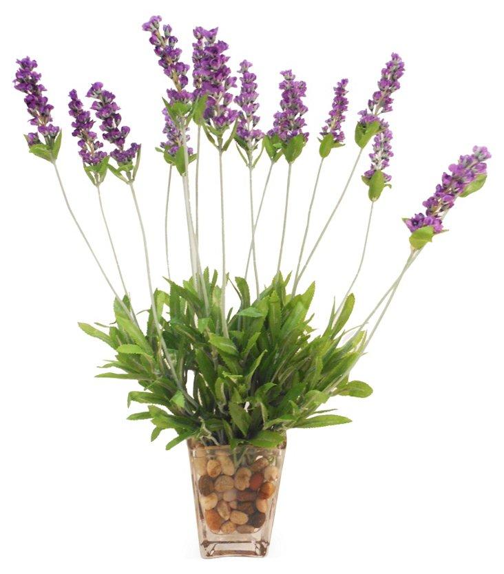 """18"""" Lavender in Square Vase, Faux"""
