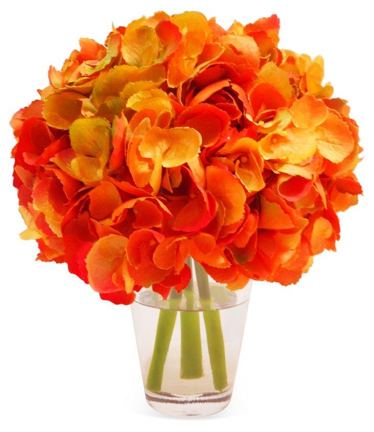 """11"""" Hydrangea in Glass Vase, Faux"""