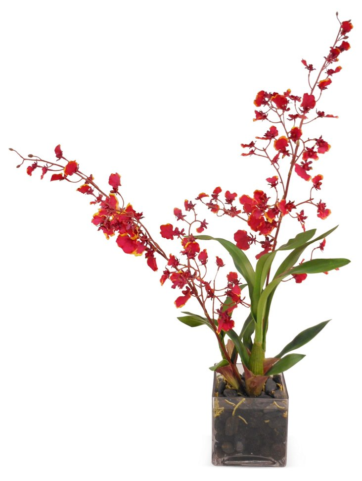 """26"""" Orchid in Vase, Faux"""