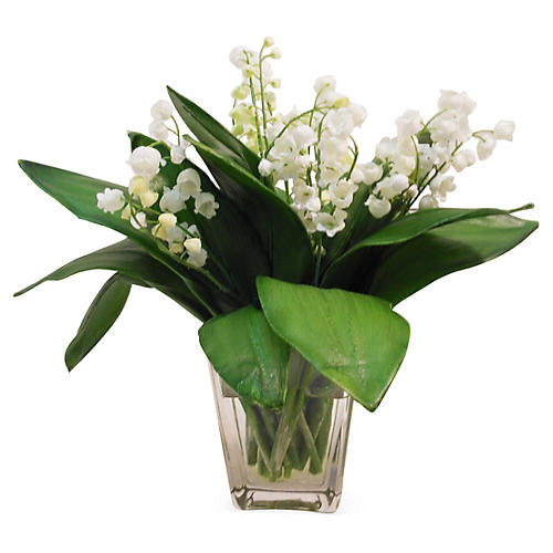 "12"" Lily of the Valley in Vase, Faux"