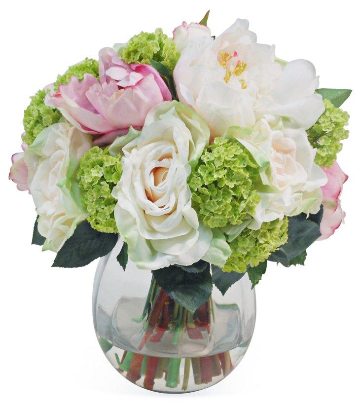 """14"""" Peonies in Vase, Faux"""
