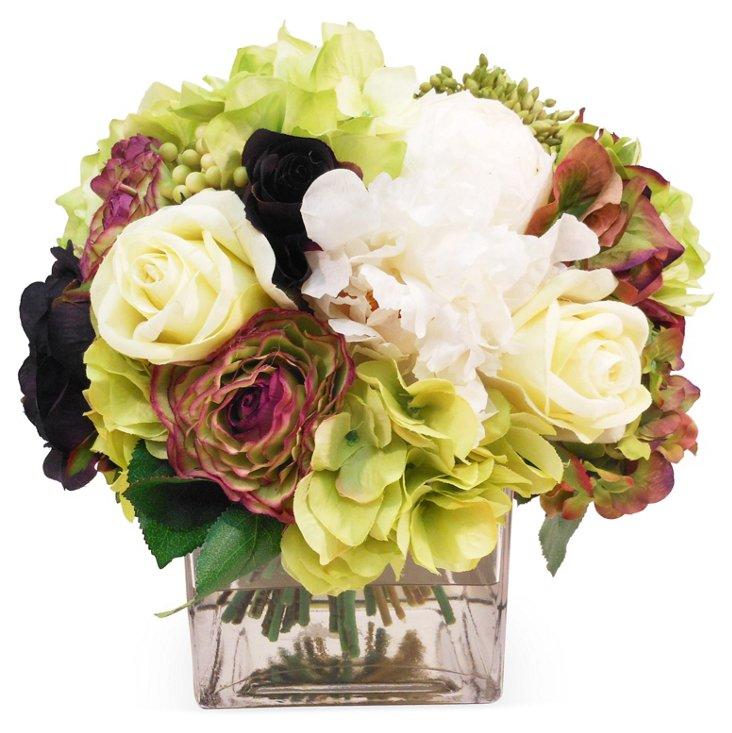 "10"" Bouquet in Vase, Faux"