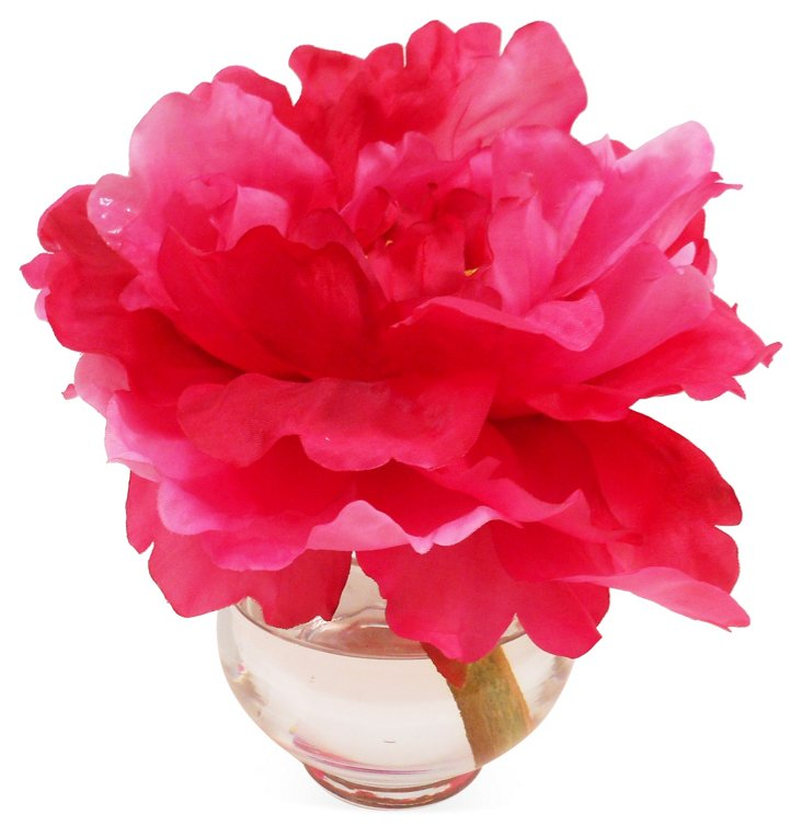 """7"""" Peony in Vase, Faux"""