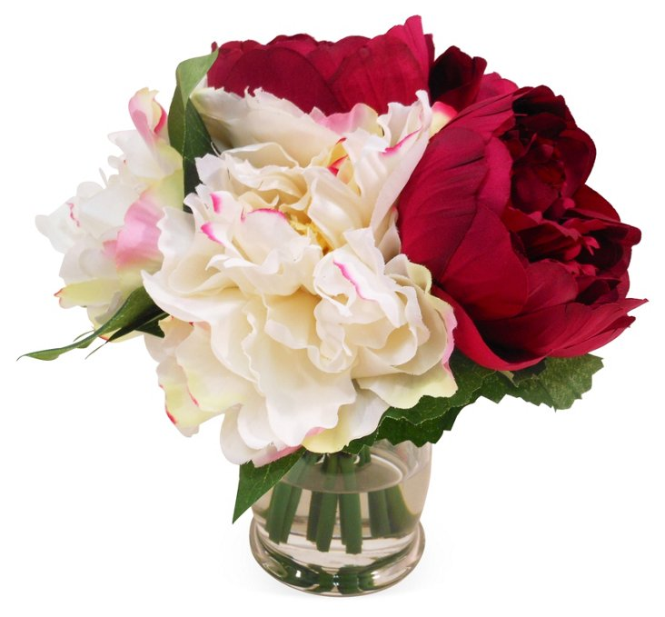 """9"""" Peony in Vase, Faux"""