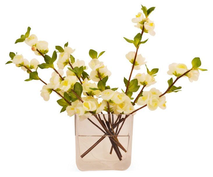 """17"""" Quince Blossom in Vase, Faux"""