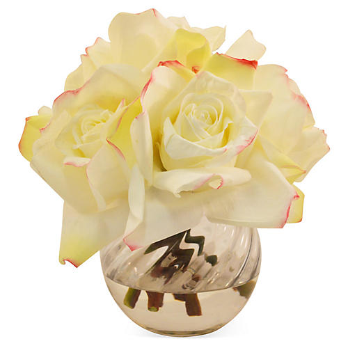 "8"" Rose in Bowl, White"