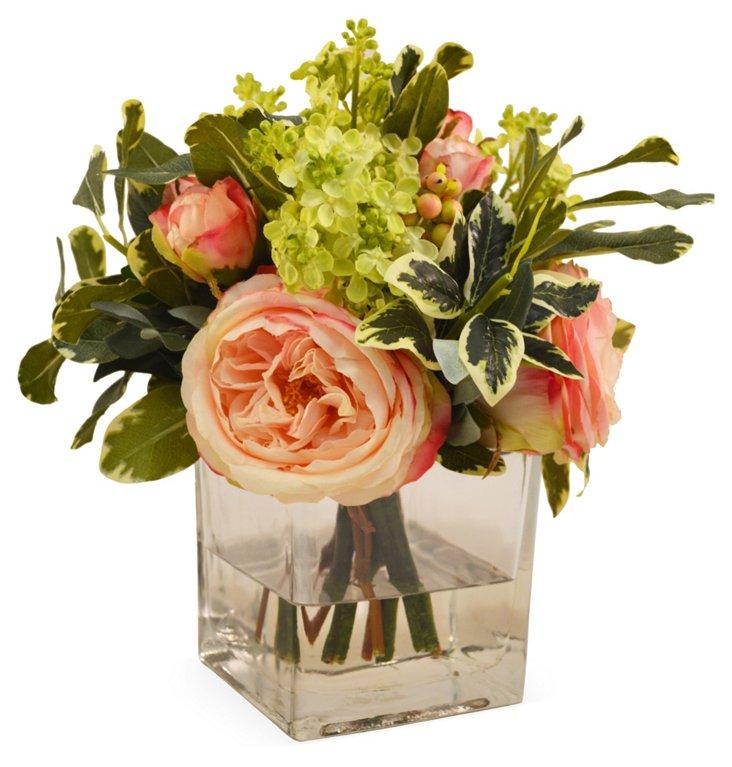 "11"" English Cabbage & Rose Bouquet, Faux"