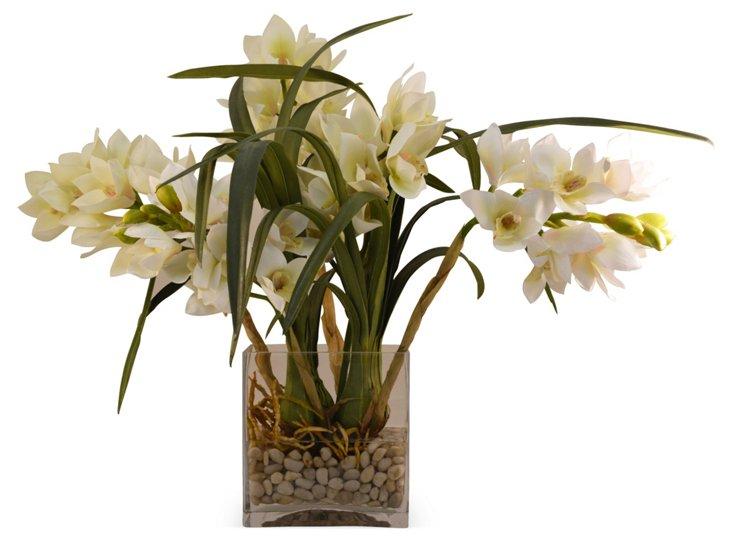 """24"""" Cymbidium in Vase, Faux"""