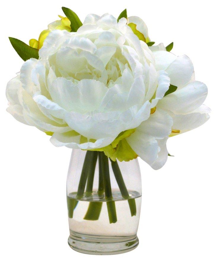 """7"""" Peonies in Vase, Faux"""