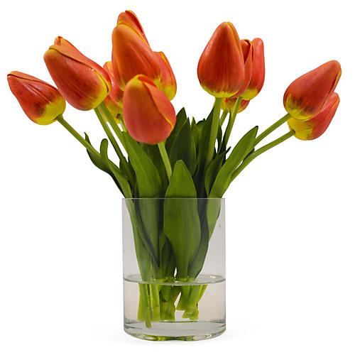 "10"" Tulips in Vase, Orange"