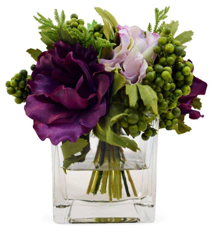 "7"" Anemones in Vase, Faux"