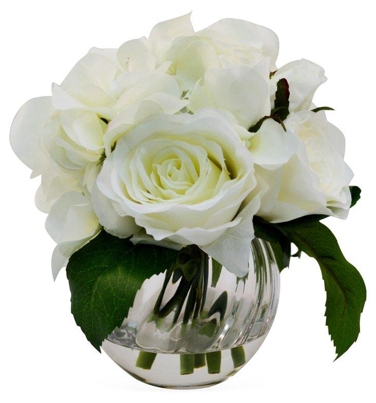 "8"" Rose & Ranunculus in Vase, Faux"