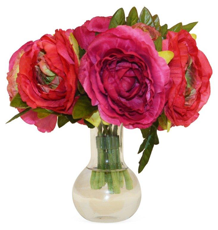 "7"" Ranunculus in Vase, Faux"