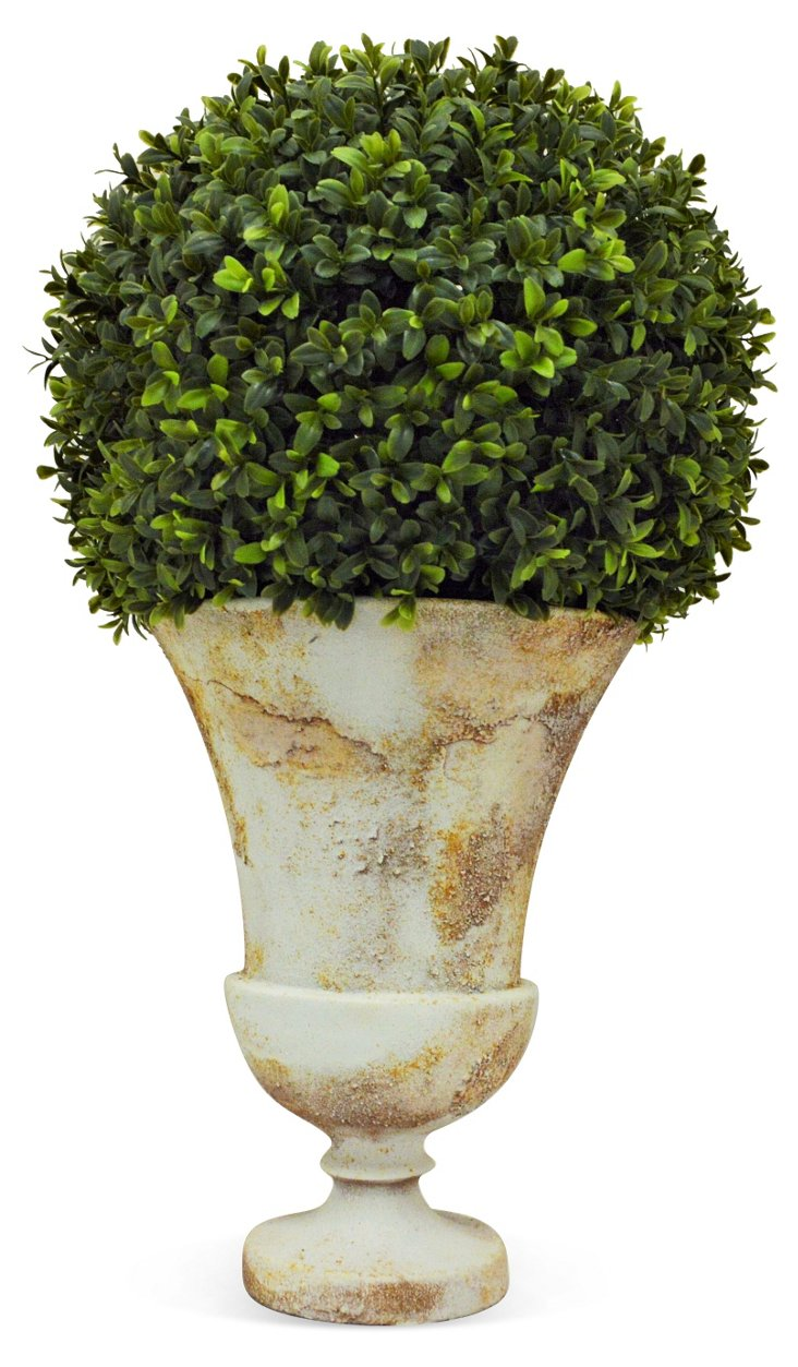 "23"" Boxwood Ball in Urn, Faux"