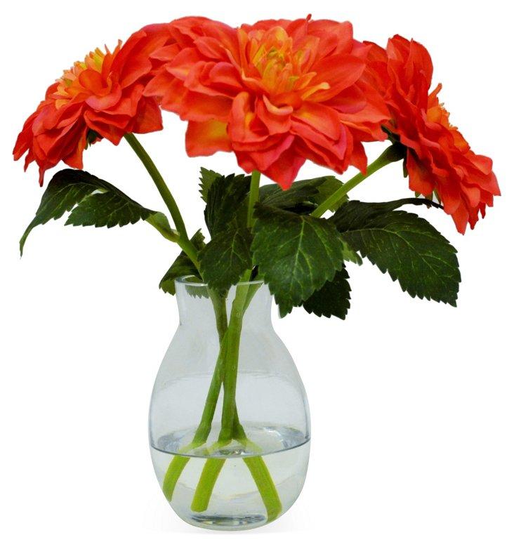 "10"" Dahlia in Vase, Faux"