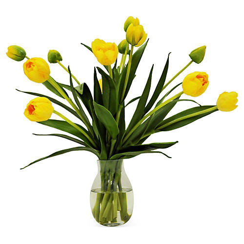 "14"" Tulip in Vase, Faux"